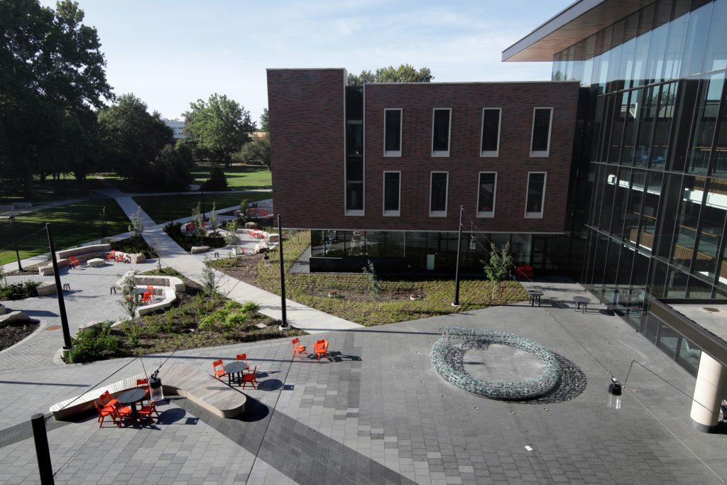 An angled aerial view shot from the top of the north wing of the HSSC